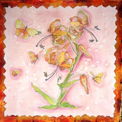 Платочек с рыжими лилиями.ПО МОТИВАМ КИТАЙСКИХ ГРАВЮР.(60/60см.)Крепдешин,холодный батик.