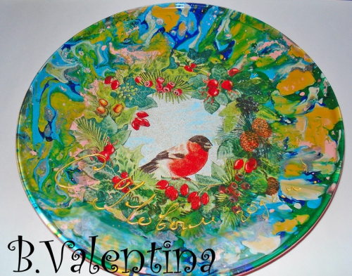 Сувенирная тарелка с мармированием