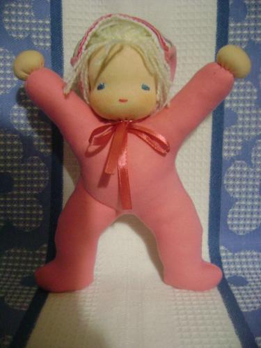 Вальдорфская кукла 20см в пришивном комбинезоне