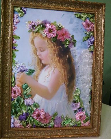 """Картина вышитая шелковыми лентами """"Ангелочек"""""""