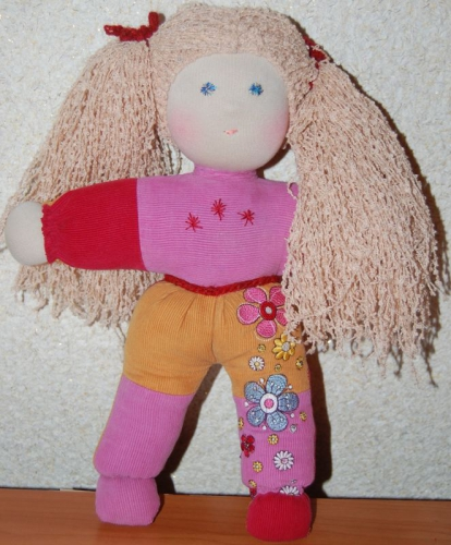 Вальдорфская кукла в пришивном комбинезоне
