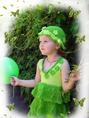 """Сарафан вязанный для девочек """"Зеленое чудо"""""""