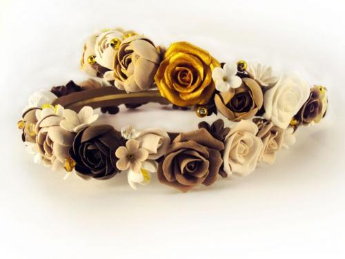 Ободок для волос с цветами из полимерной глины