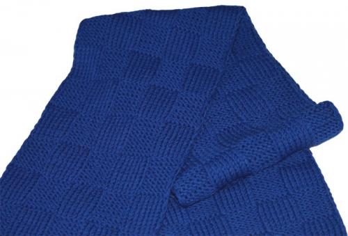 """Синий вязаный шарф из 100% шерсти """"Мужская классика"""""""