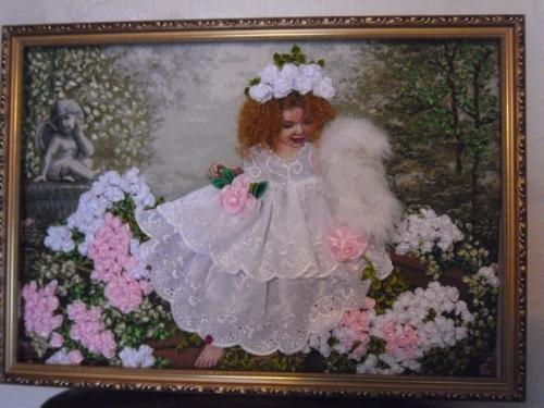 "Картина лентами ""Ангел в розах"""