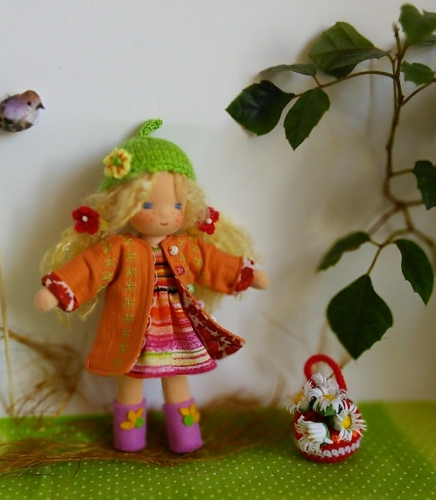 куколка Веснушка 18 см в съемной одежке ПРОДАНА