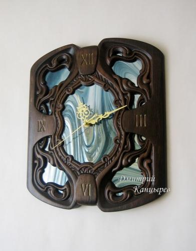 """Часы настенные """"Зеркало времени"""" резное дерево витражные зеркальные"""