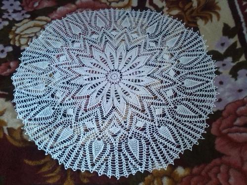 салфетка крючком из хлопка 100% диаметр 90 см