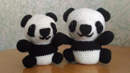 Бонни и Клайд, пара панд, связанная крючком 2 шт., ручная работа, handmade