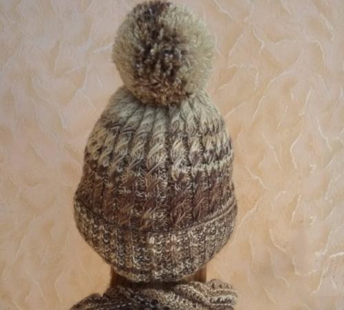 Оригинальный теплый зимний меланжевый комплект из двойной шапки и бактуса