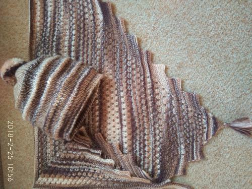"""Весенний меланжевый коричнево-бежевый комплект Волна"""" из бактуса и шапочки"""