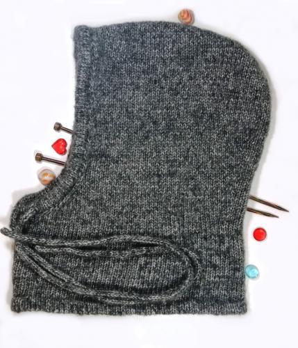 Вязаная теплая шапка-капюшон, шапка шлем из мериноса с хлопком и акрилом. Шапка-капюшон унисекс.