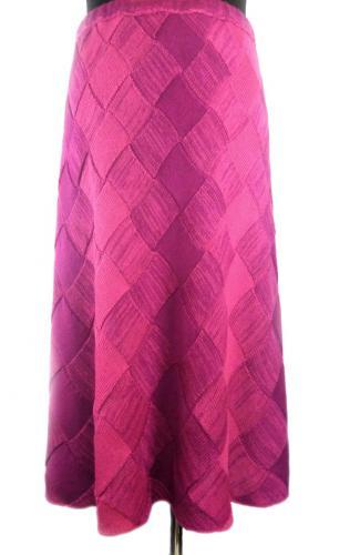 Вязаная юбка из шерсти с акрилом градиентом и вертикальными полосами размера плюс
